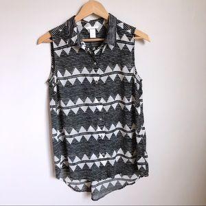 NWOT H&M high-low semi-sheer sleeveless blouse